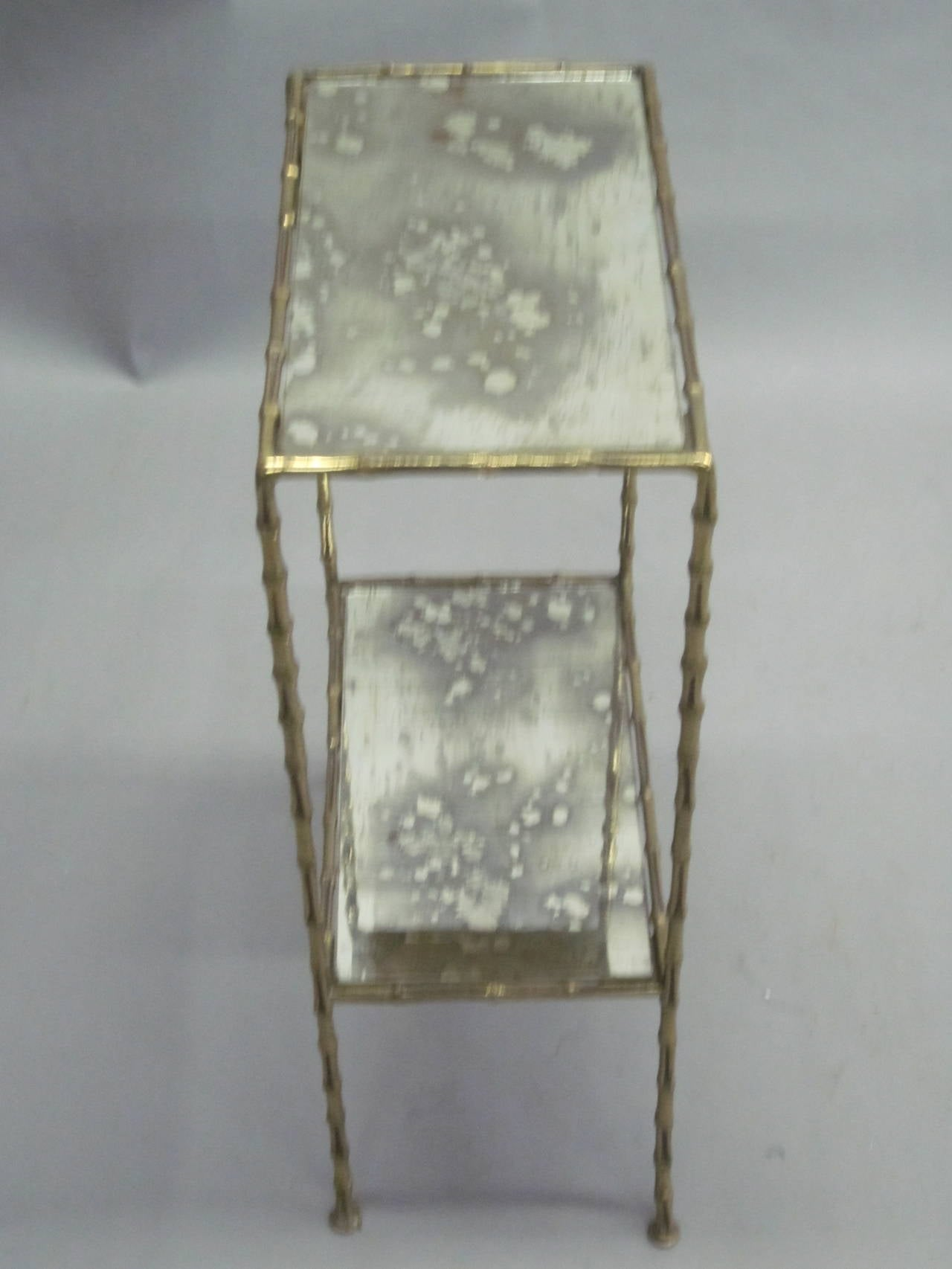 Pair of Brass Faux Bamboo and Mirrored Side Tables by Maison Baguès, France 6