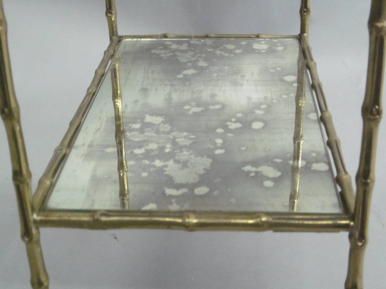 Pair of Brass Faux Bamboo and Mirrored Side Tables by Maison Baguès, France 8