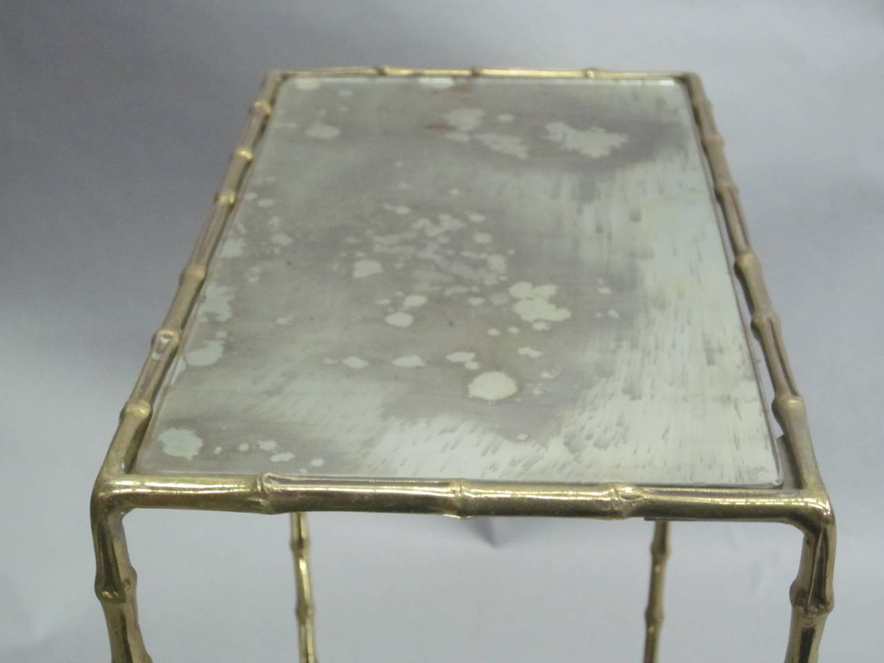 Pair of Brass Faux Bamboo and Mirrored Side Tables by Maison Baguès, France 7