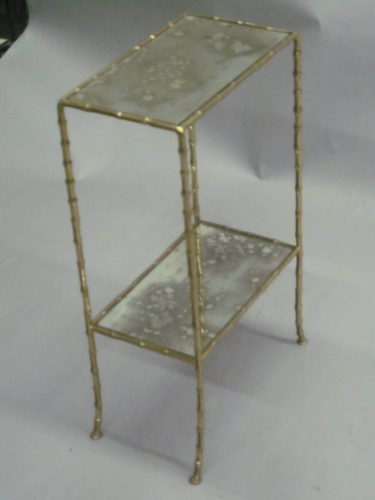 Pair of Brass Faux Bamboo and Mirrored Side Tables by Maison Baguès, France 3