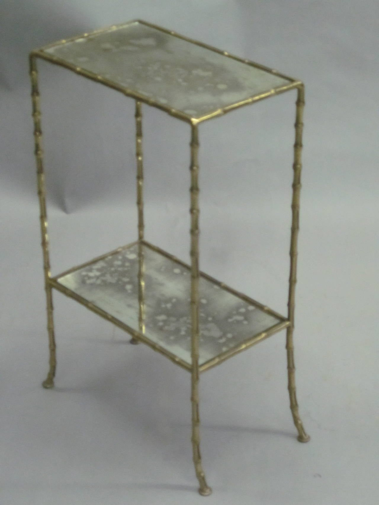 Pair of Brass Faux Bamboo and Mirrored Side Tables by Maison Baguès, France 2