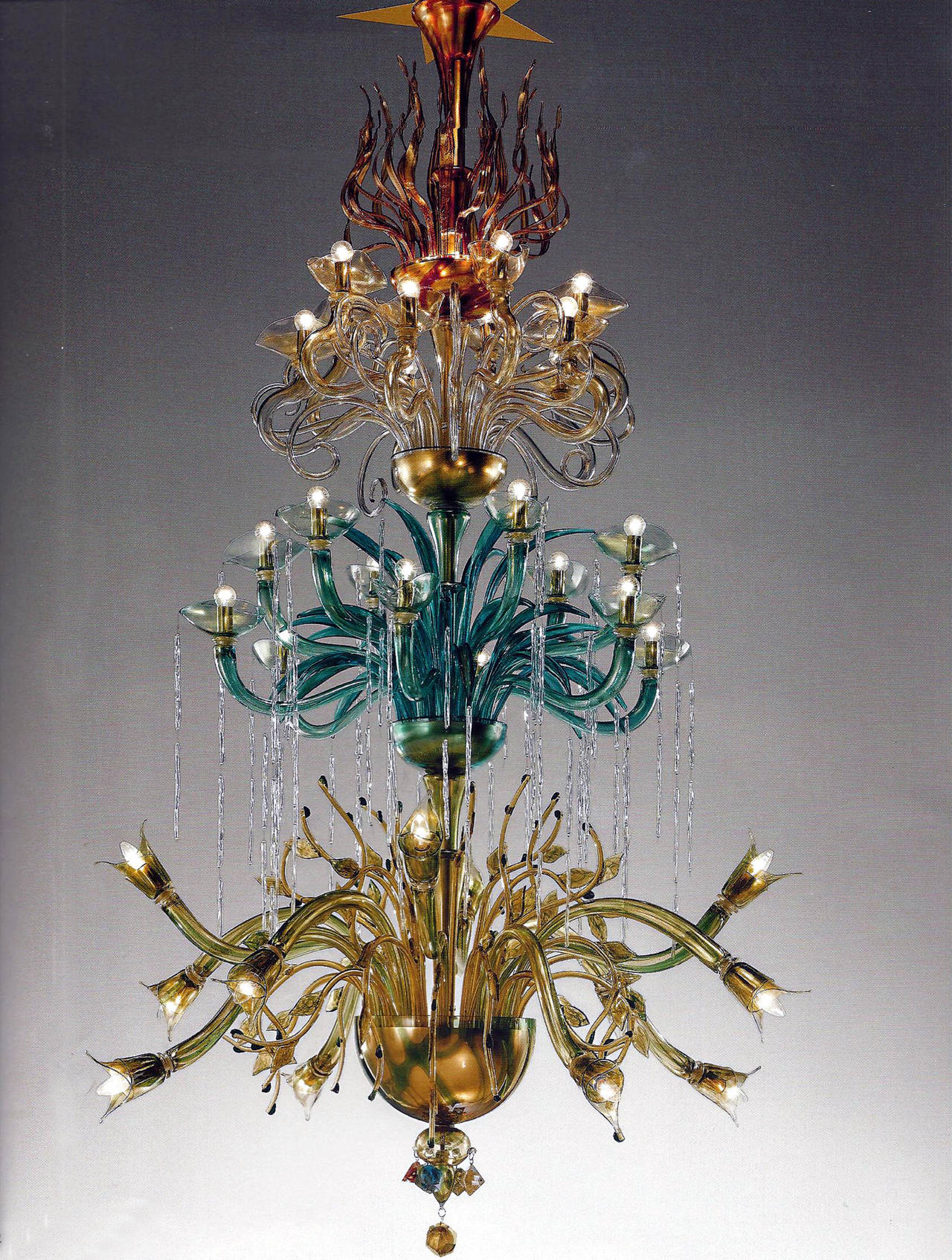 "Monumental Four Elements Venetian Glass Chandelier, ""Earth, Water, Air and Fire"" 2"