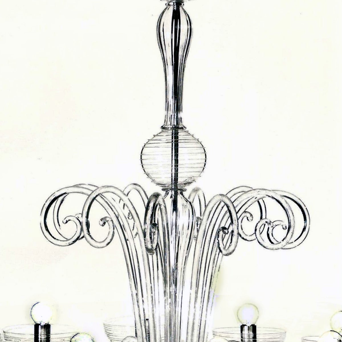 Two Italian Mid-Century Style Clear Murano / Venetian Glass Ten-Arm Chandeliers For Sale 1