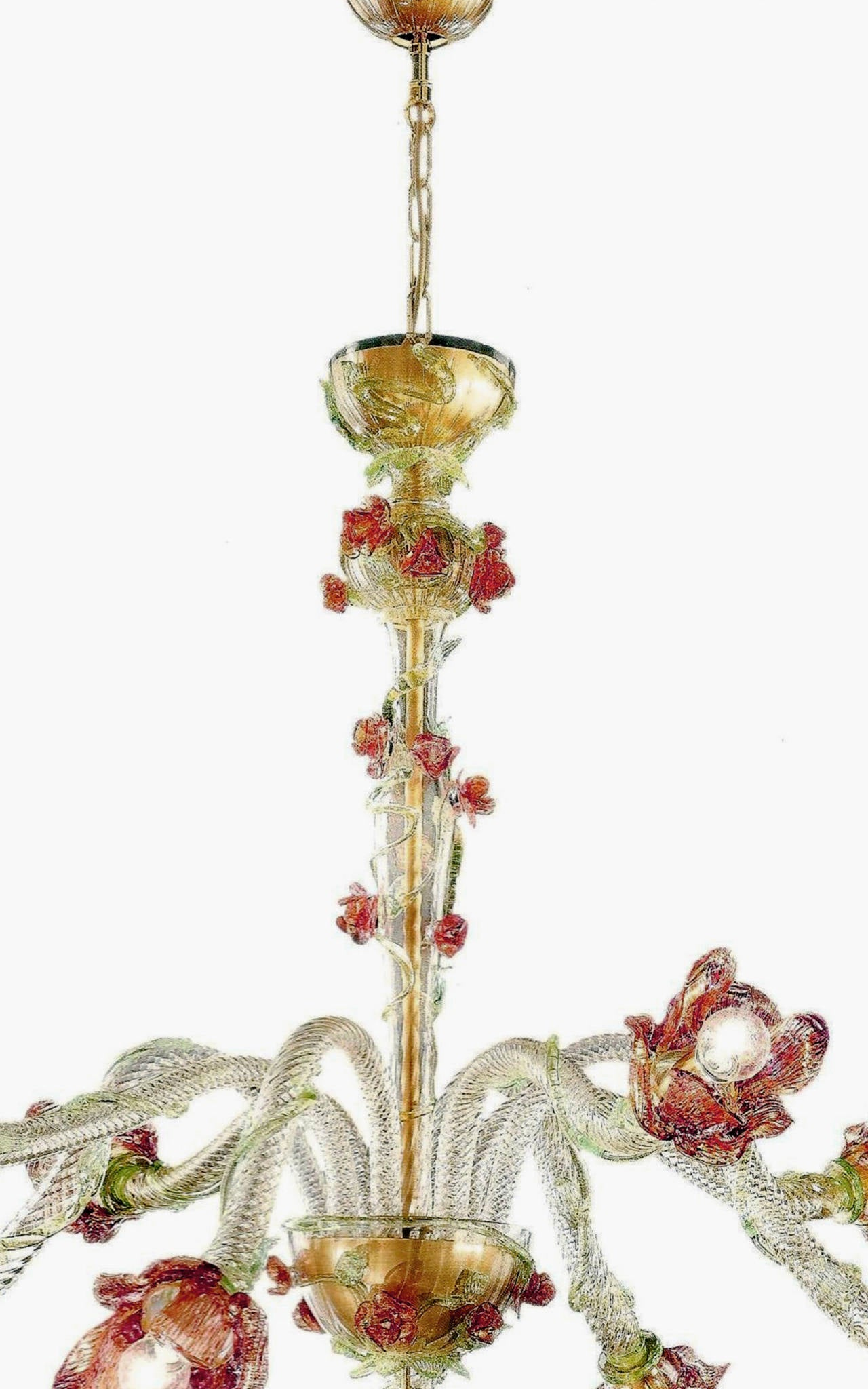 Italian Midcentury Floral Venetian / Murano Glass Chandelier For Sale 1