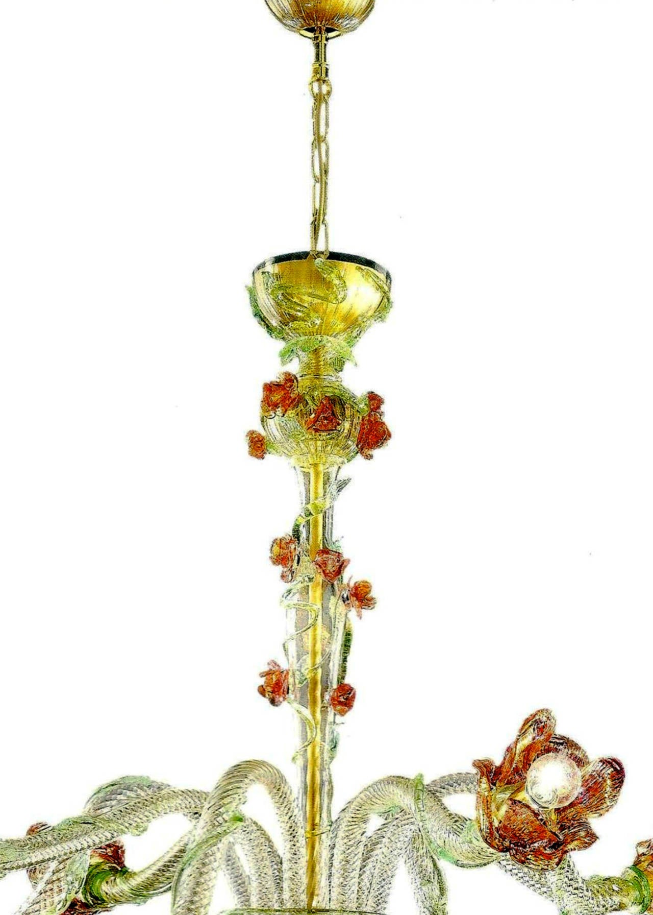 Italian Midcentury Floral Venetian / Murano Glass Chandelier For Sale 2