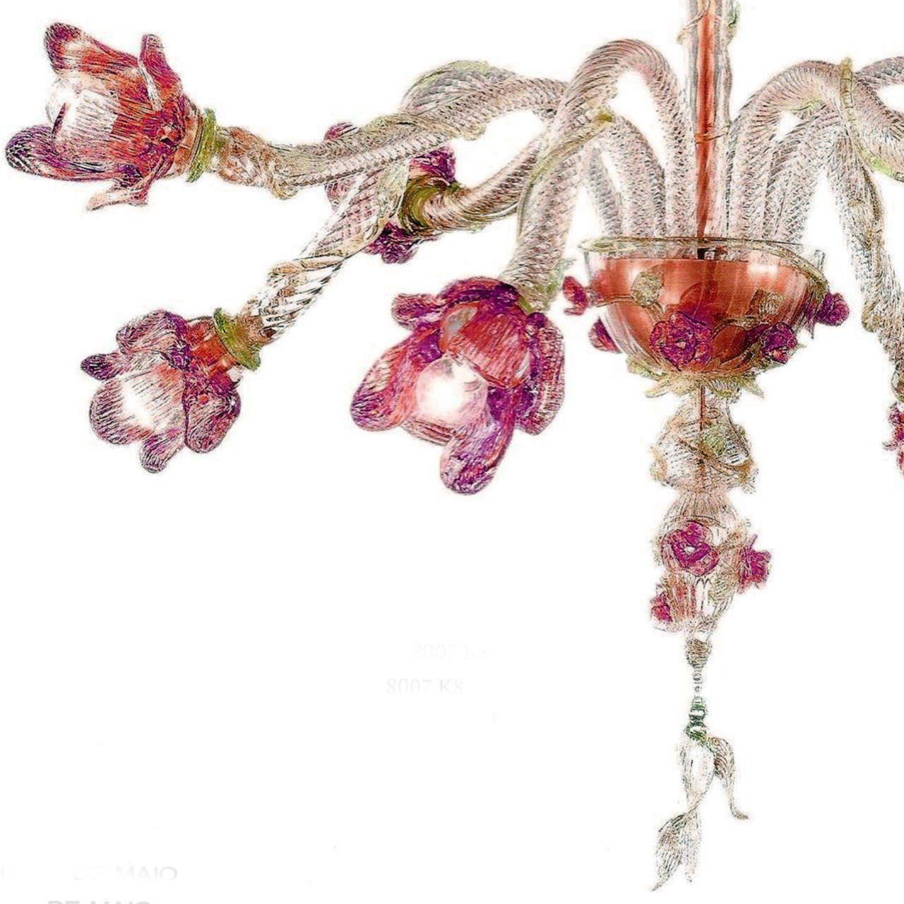 Mid-Century Modern Italian Mid-Century Style Organic Floral Venetian / Murano Glass Chandelier For Sale