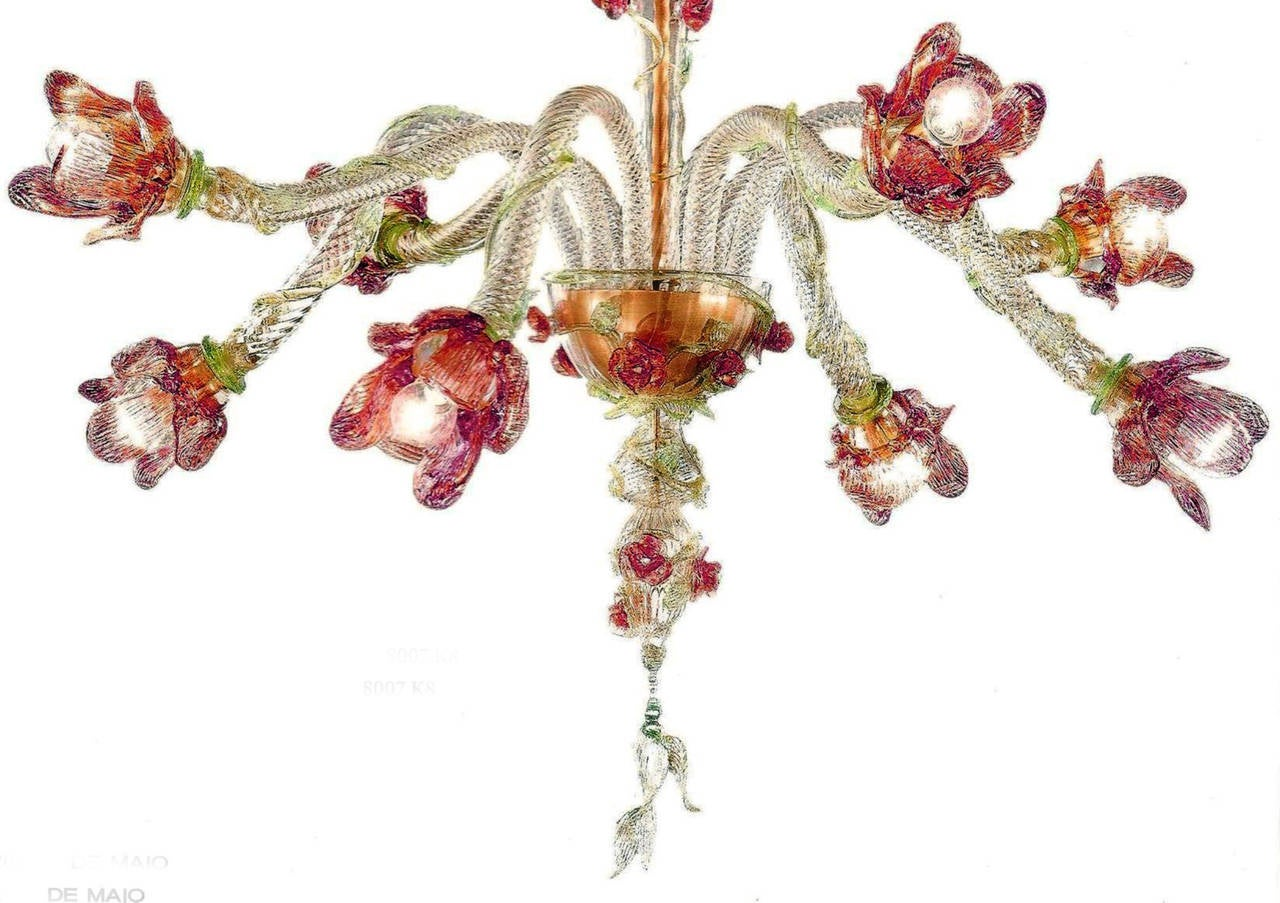 Romantic, feminine Italian midcentury style Murano glass chandelier or pendant with eight arms with subtle, modern spiraling floral forms. A delightful masterpiece of color, balance and harmony.