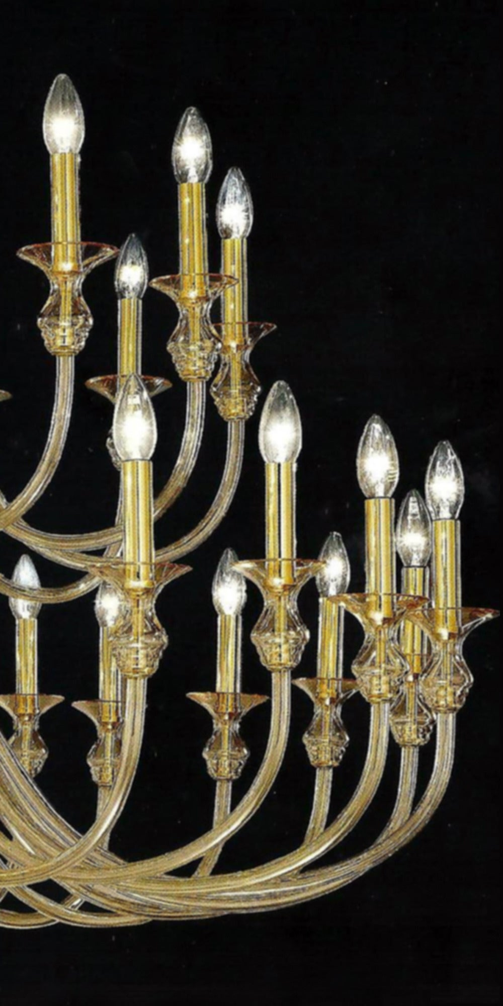 Large, 36 Arm, Clear Amber Murano /Venetian Glass Modern Neoclassical Chandelier In Excellent Condition For Sale In New York, NY