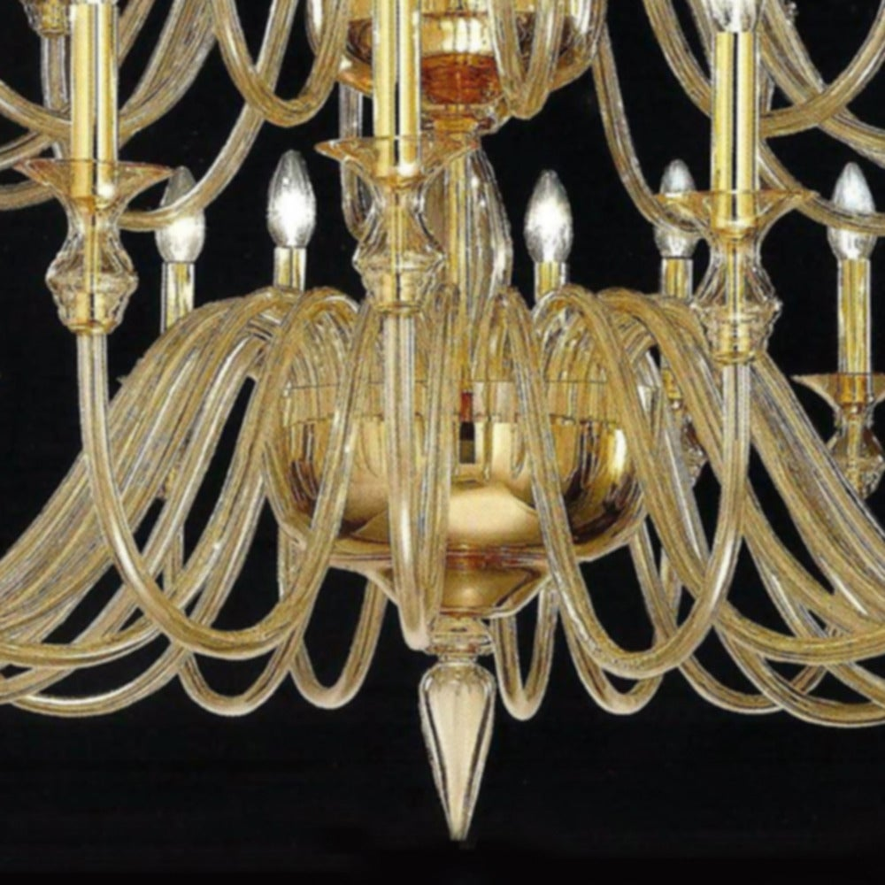 Mid-Century Modern Large, 36 Arm, Clear Amber Murano /Venetian Glass Modern Neoclassical Chandelier For Sale