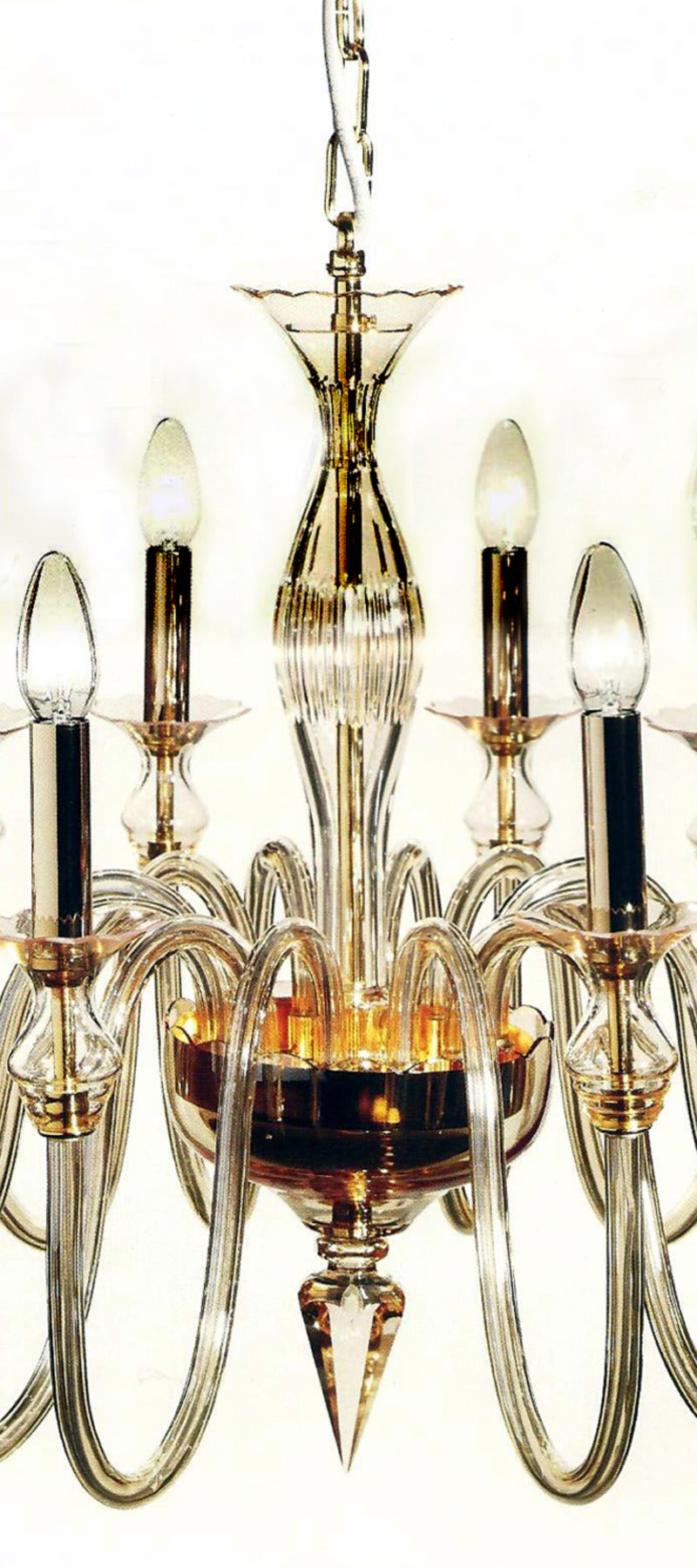 Amber Murano Glass Twelve-Arm Chandelier 4