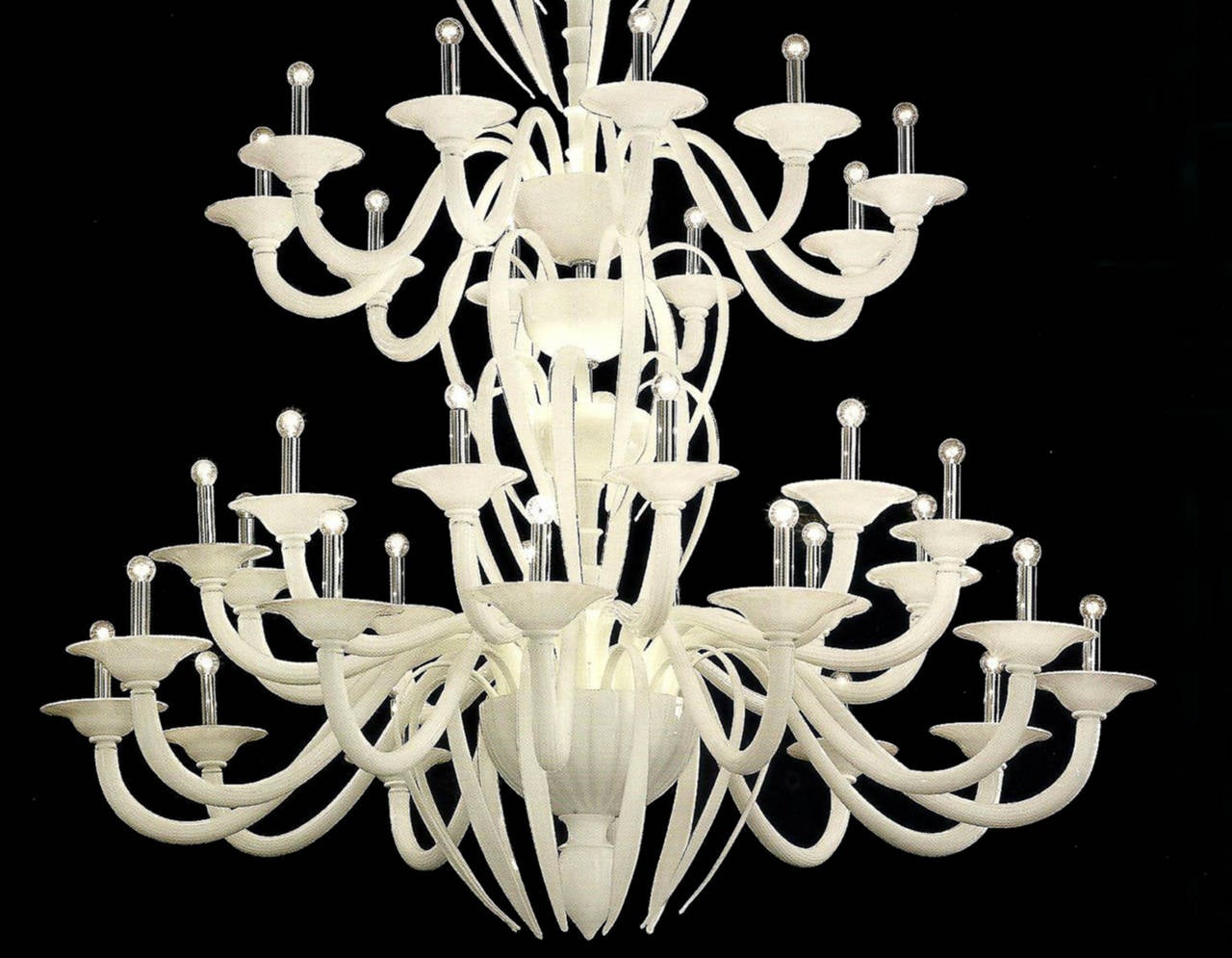 20th Century Monumental Mid-Century Modern Neoclassic White Murano /Venetian Glass Chandelier For Sale