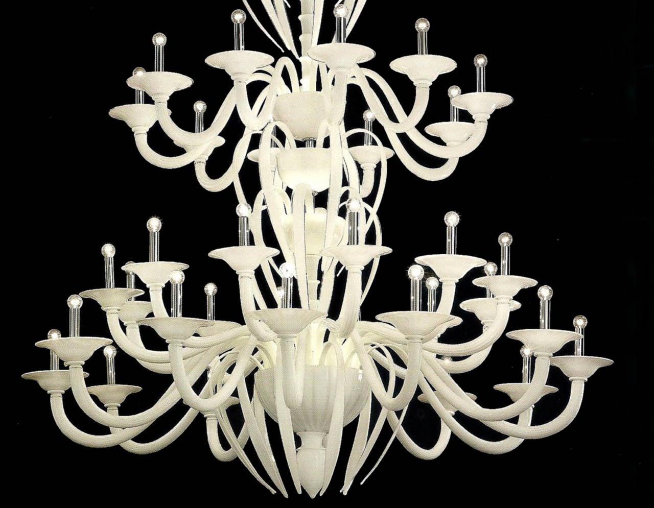 Monumental White Murano Glass Chandelier 5