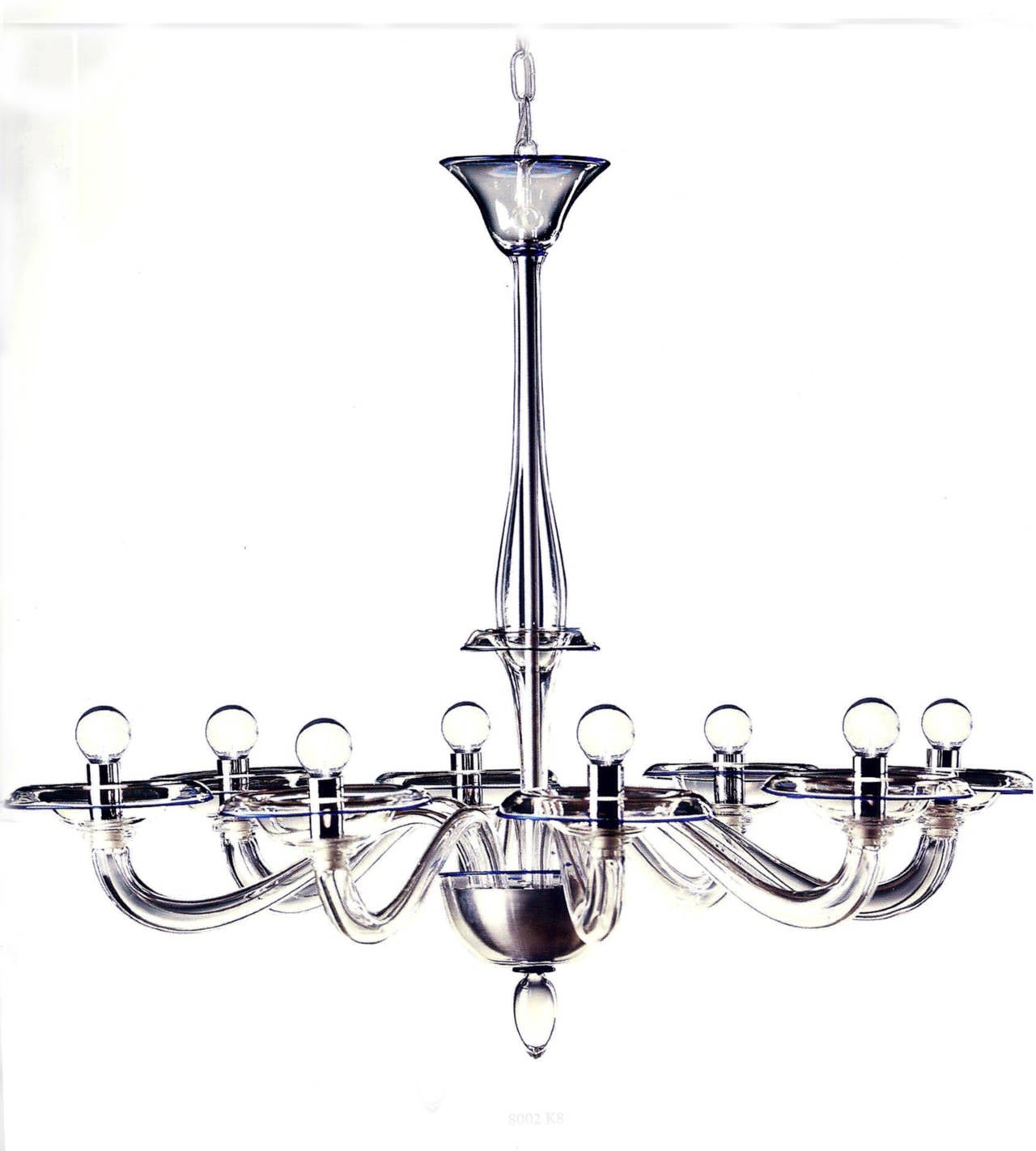 Two Clear Italian Mid-Century Style Hand Blown Murano /Venetian Glass Chandelier For Sale 3