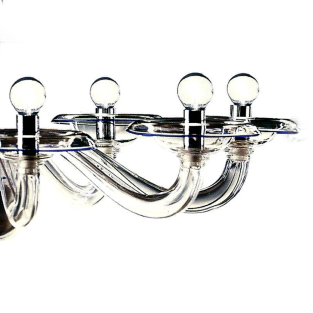 Two Clear Italian Mid-Century Style Hand Blown Murano /Venetian Glass Chandelier For Sale 5