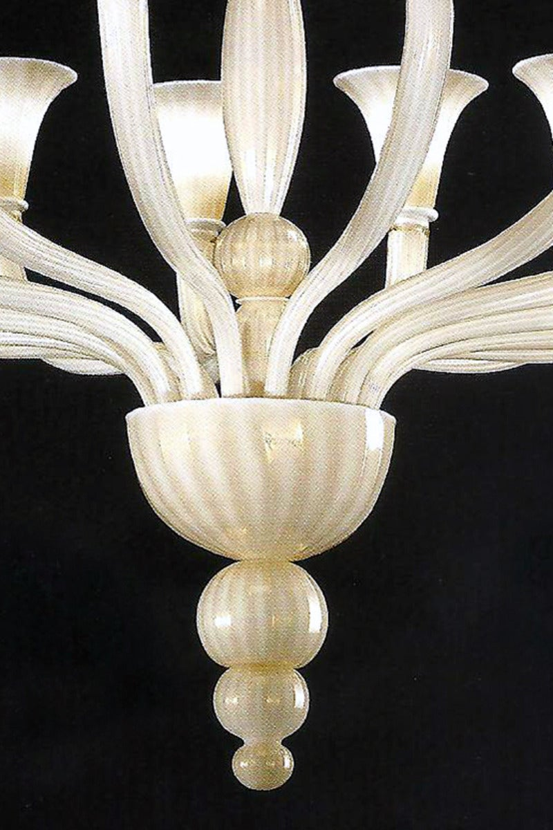 2 Italian Modern Neoclassical Hand-blown White & Gold Murano Glass Chandeliers For Sale 1