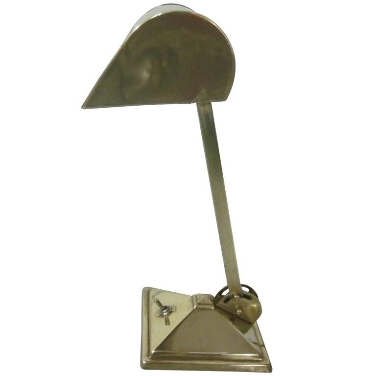 solid brass french modernist desk lamp for sale at 1stdibs. Black Bedroom Furniture Sets. Home Design Ideas