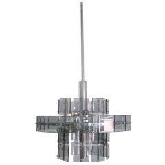 Italian Mid-Century Double Ring Smoked Glass Chandelier, Attr. to Fontana Arte