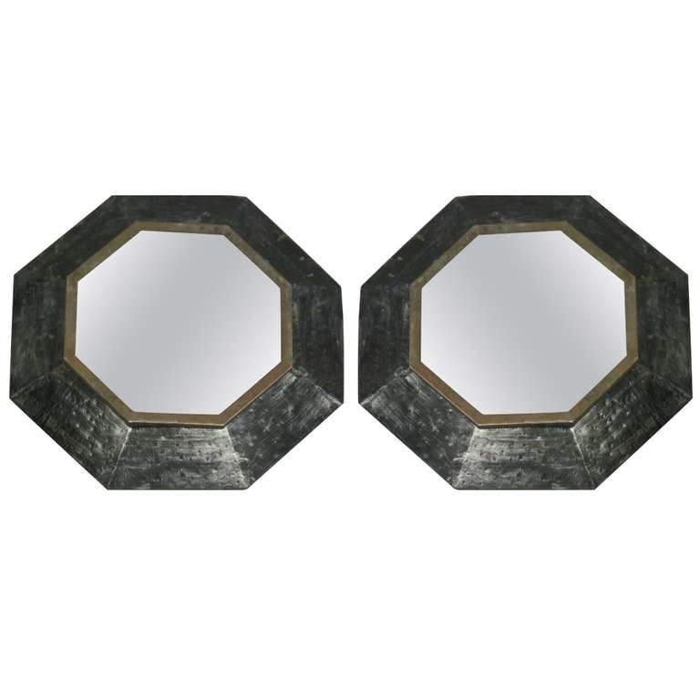 Two French 1940s Hammered Iron and Gilt Octagonal Mirrors