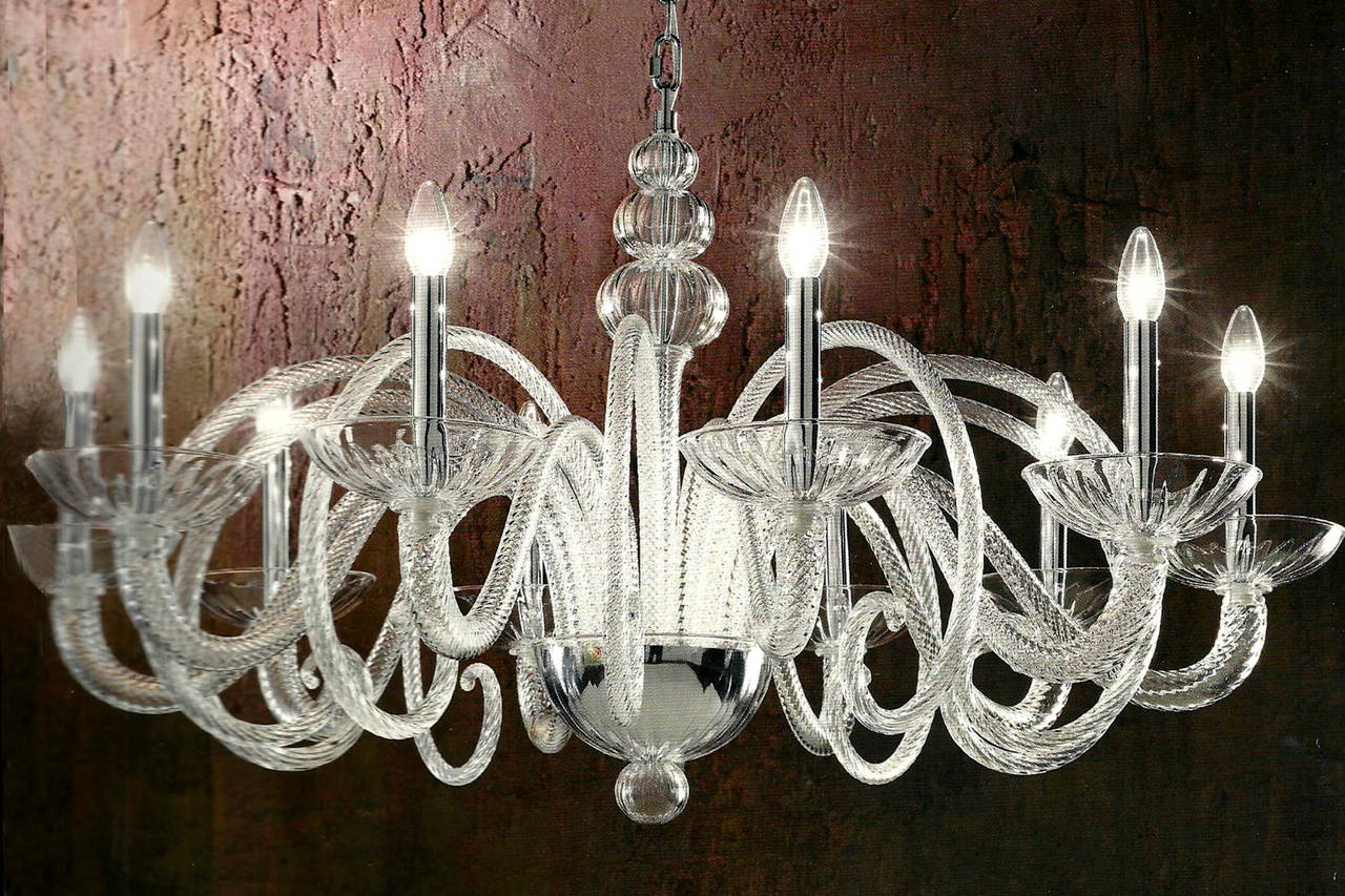 Mid-Century Modern Large Italian MId-Century Modern Ten-Arm Murano / Venetian  Glass Chandelier For Sale