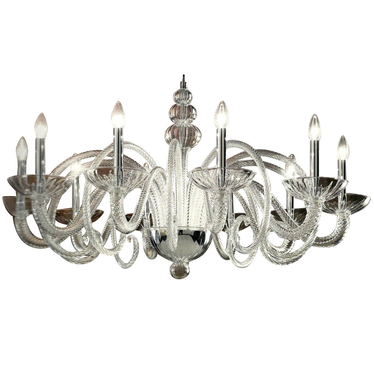 Large Italian MId-Century Modern Ten-Arm Murano / Venetian  Glass Chandelier For Sale