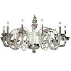 Large Italian MId-Century Modern Ten-Arm Murano / Venetian  Glass Chandelier