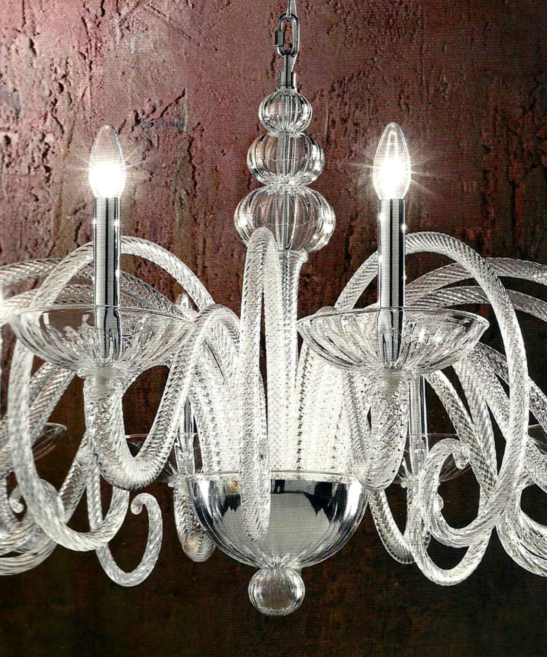 20th Century Large Italian MId-Century Modern Ten-Arm Murano / Venetian  Glass Chandelier For Sale