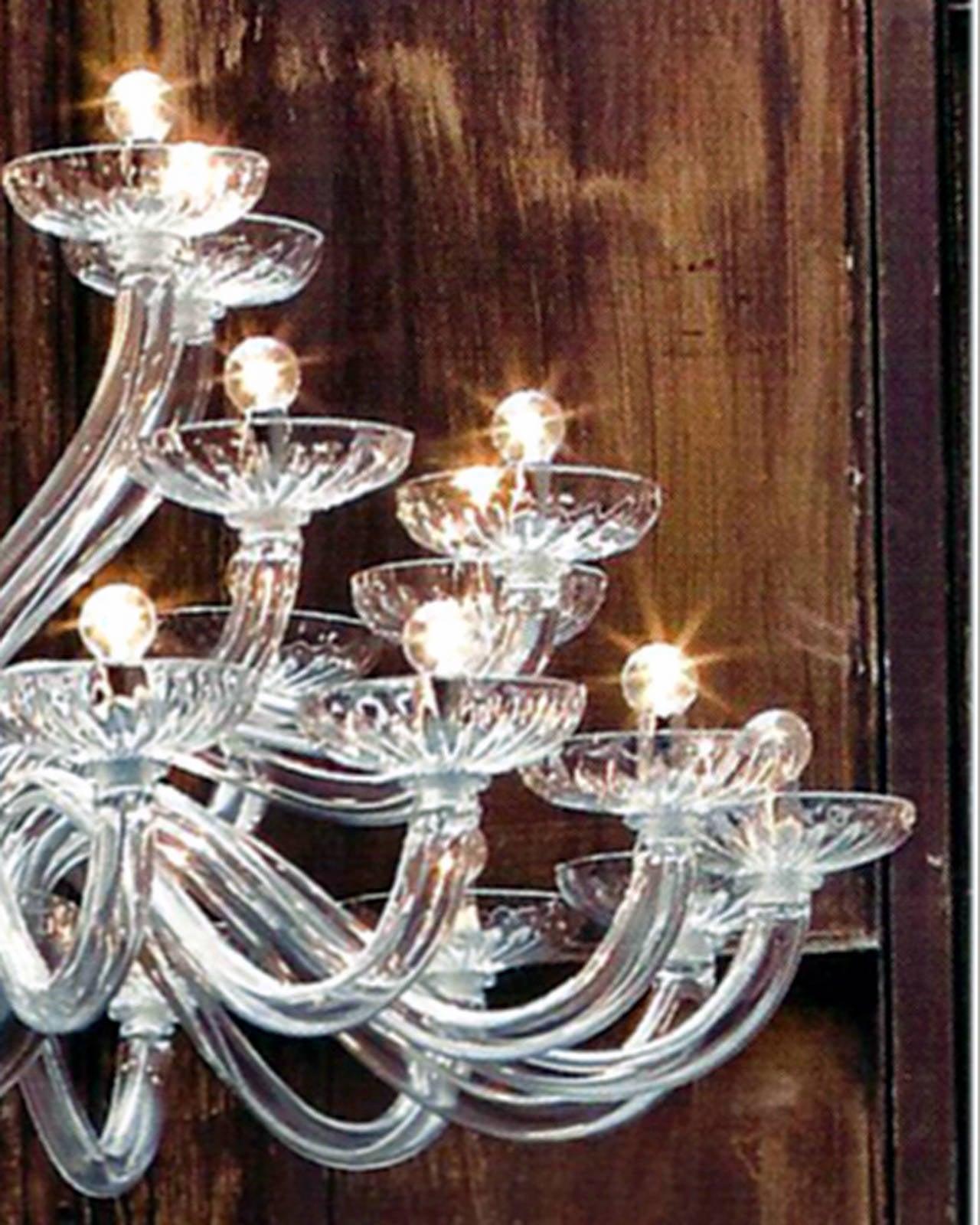 20th Century Monumental Italian Triple Tier 30 Arm Clear Murano / Venetian Glass Chandelier For Sale