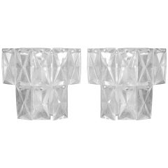 2 Pairs of Lead Crystal Wall Sconces Attributed to Baccarat
