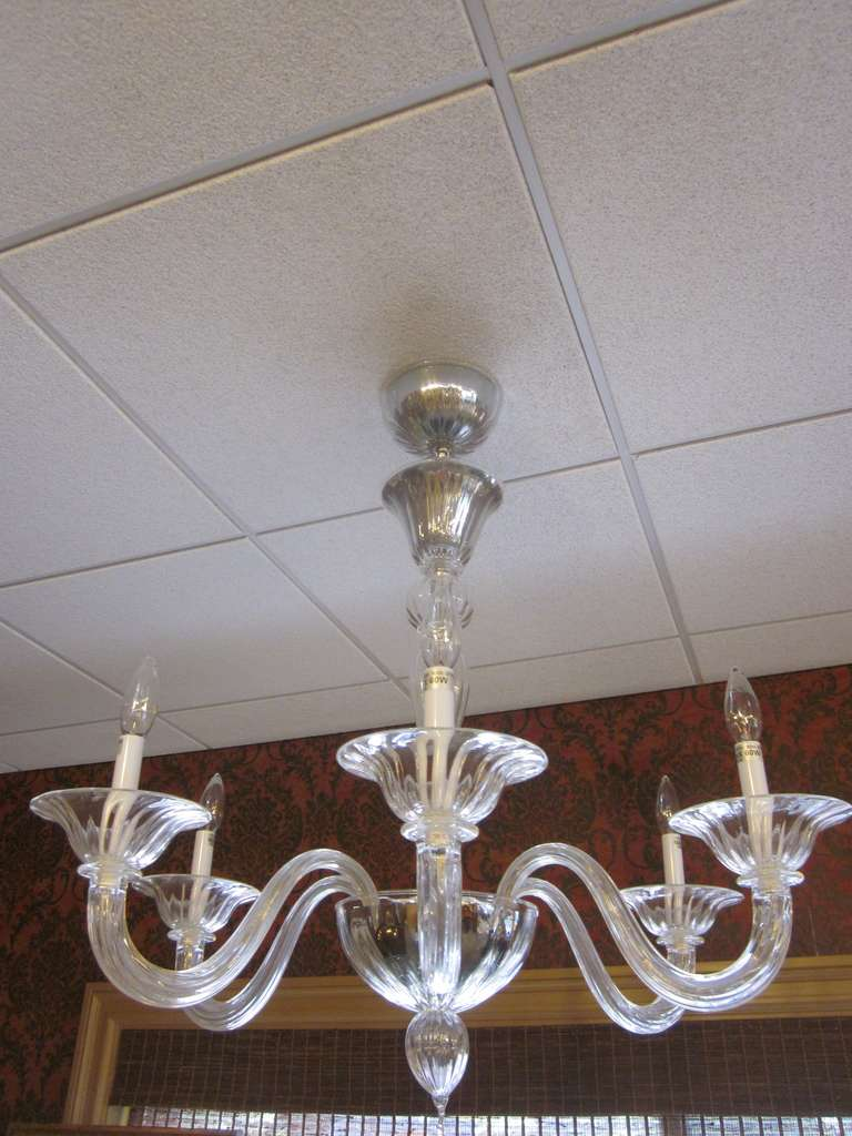 Mid-Century Modern Two Clear Murano Glass Chandeliers Attributed to Venini For Sale