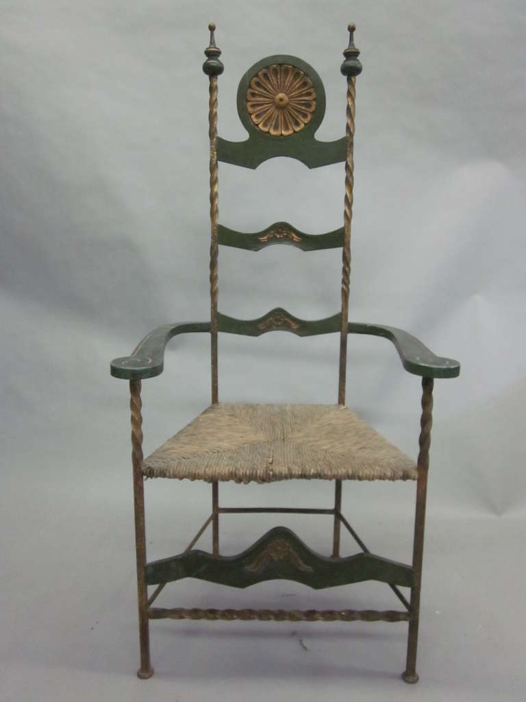 Handmade Italian Midcentury Iron and Straw / Rattan Stool or Bench For Sale 1