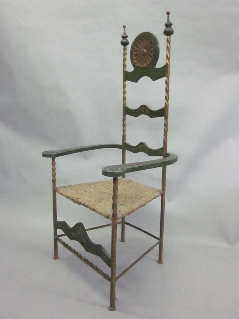 Handmade Italian Midcentury Iron and Straw / Rattan Stool or Bench For Sale 2