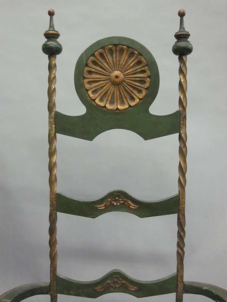 Handmade Italian Midcentury Iron and Straw / Rattan Stool or Bench For Sale 3