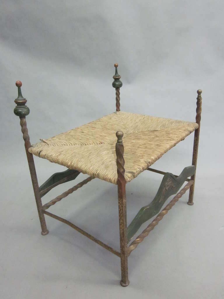 Mid-Century Modern Handmade Italian Midcentury Iron and Straw / Rattan Stool or Bench For Sale