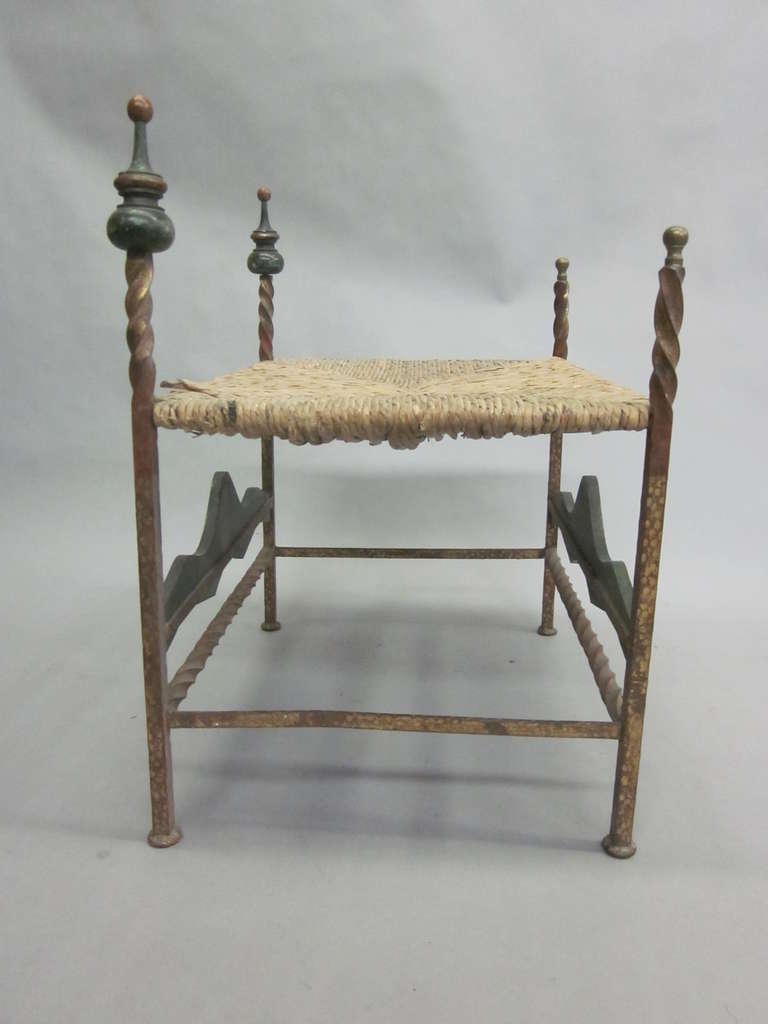 Gilt Handmade Italian Midcentury Iron and Straw / Rattan Stool or Bench For Sale