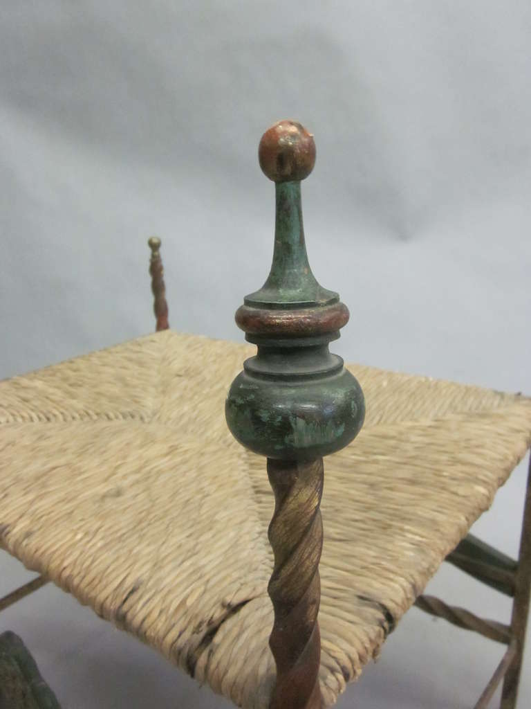 Handmade Italian Midcentury Iron and Straw / Rattan Stool or Bench In Good Condition For Sale In New York, NY