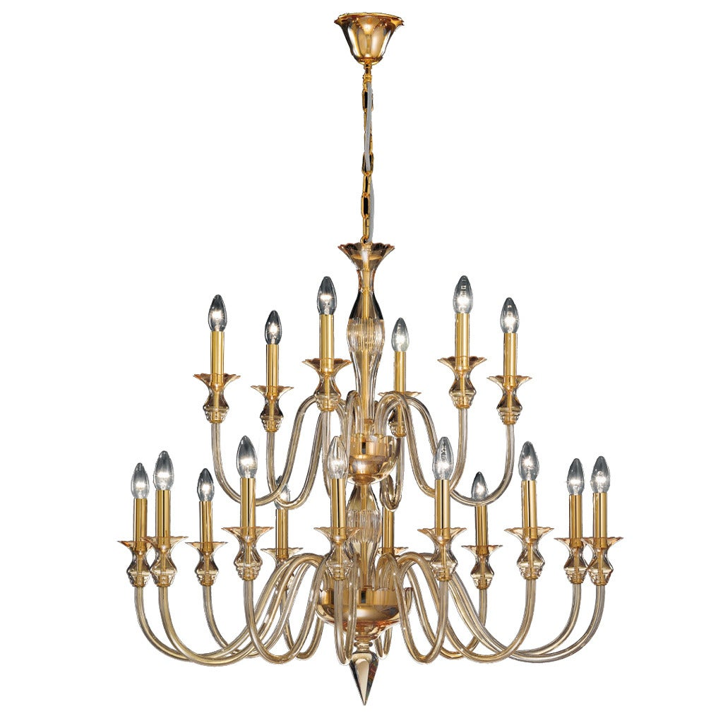 2 Mid-Century Modern Neoclassical Murano /Venetian Glass Double Tier Chandeliers For Sale