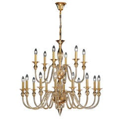 Two Large Italian Double-Tier Murano Glass Chandeliers
