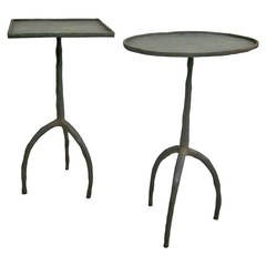 Pair of French Hand-Hammered Iron Tables Attributed to Diego Giacometti