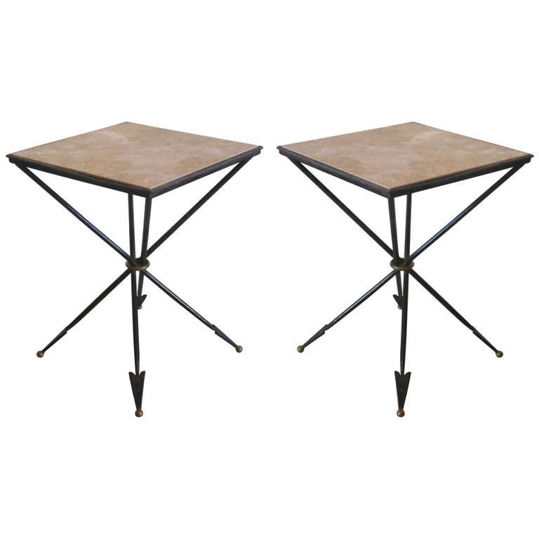 Pair of French 1940s Style Modern Neoclassical Gueridons / Side Tables