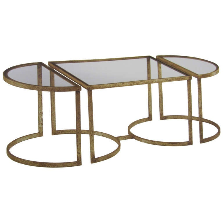 Italian Mid-Century Modern Style Gilt Iron 3 Part Coffee Table, Maison Bagues