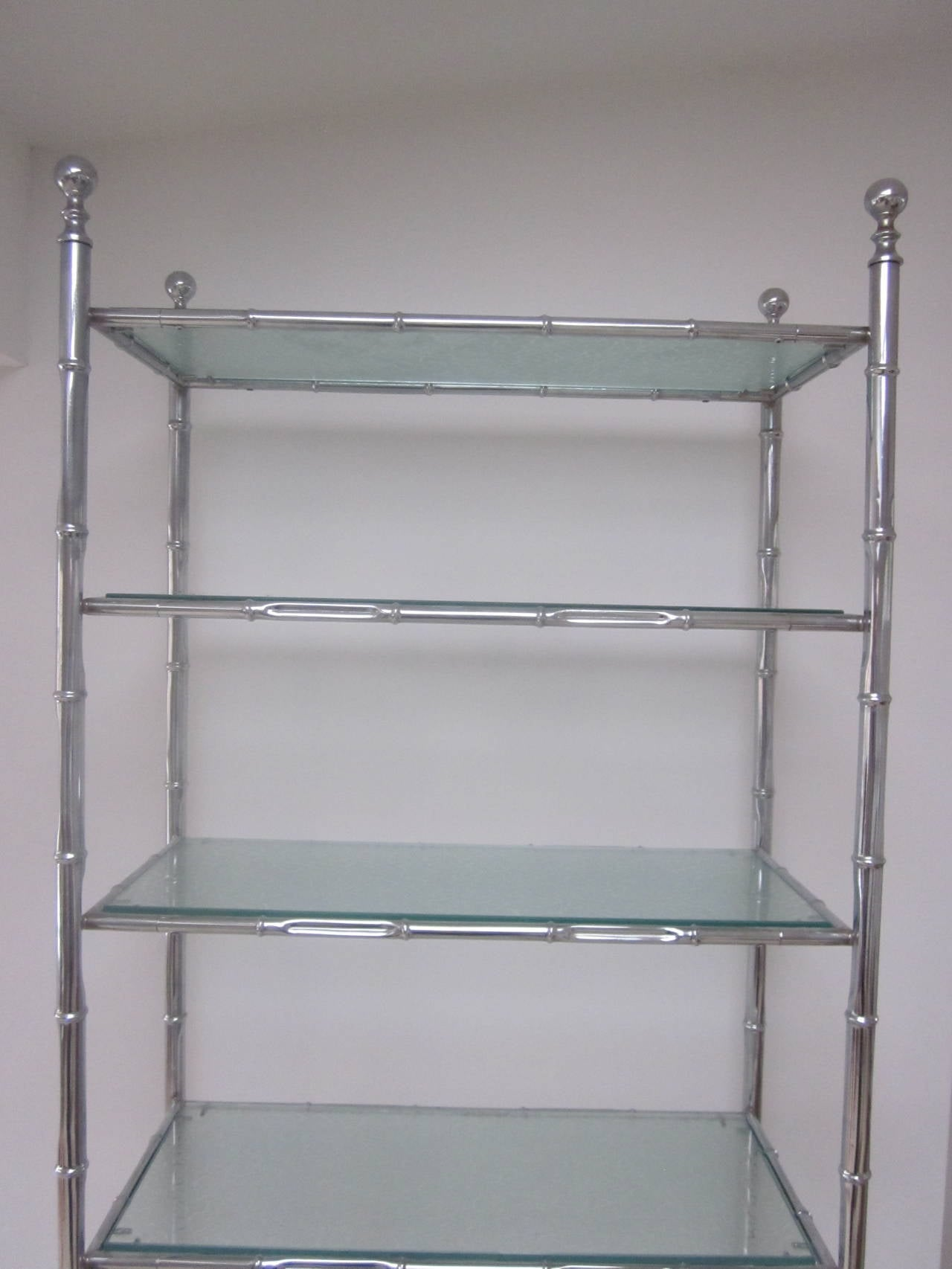 Large French Mid-Century Modern Nickel Faux Bamboo Etagere / Shelves by Baguès For Sale 1