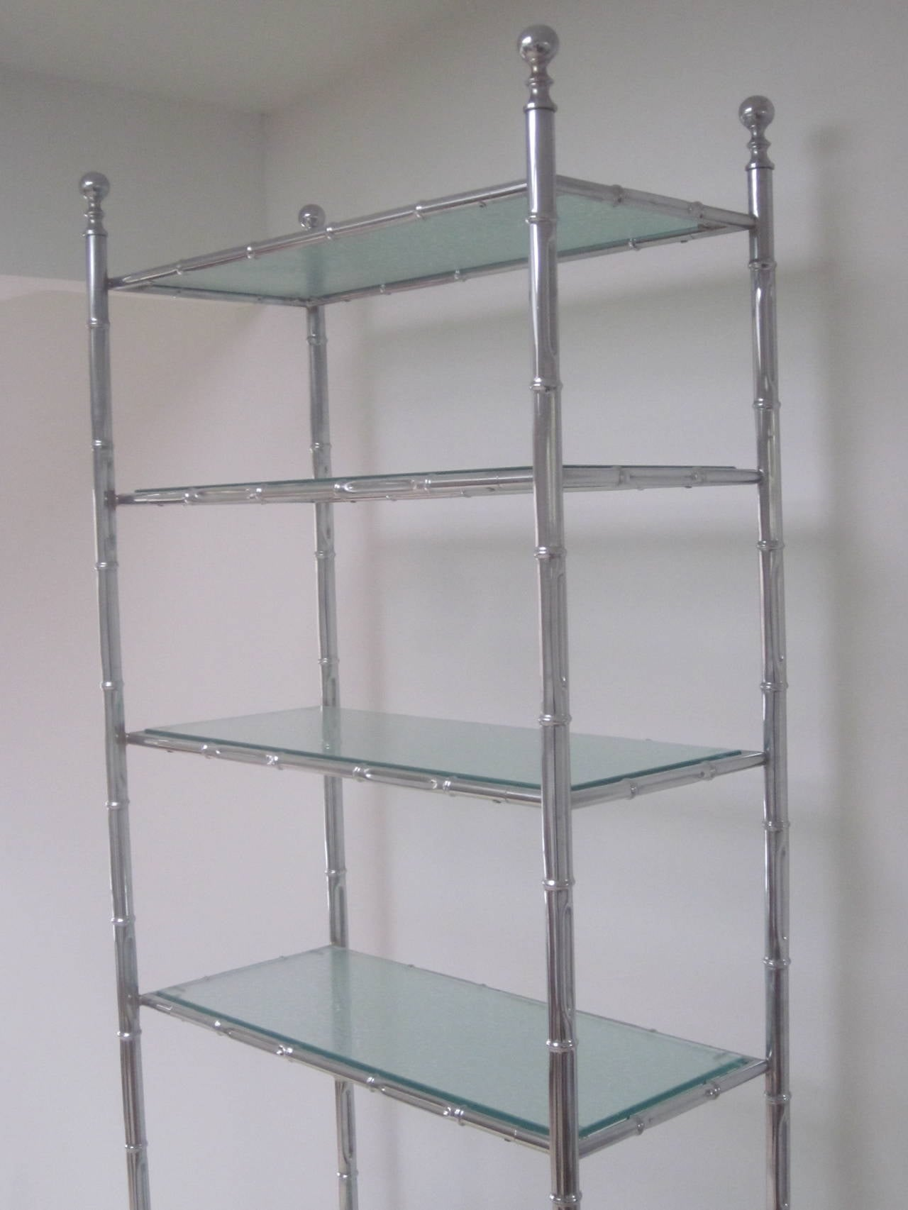 Large french 1960s nickeled faux bamboo etagere by maison bagu s for sale at - Etagere faite maison ...