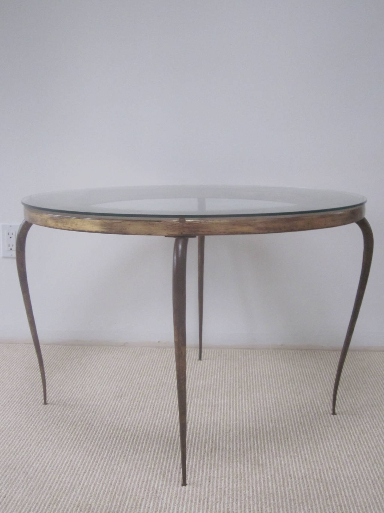 Delicate French 1940s Gilt Iron Cocktail Table by Rene Prou 5