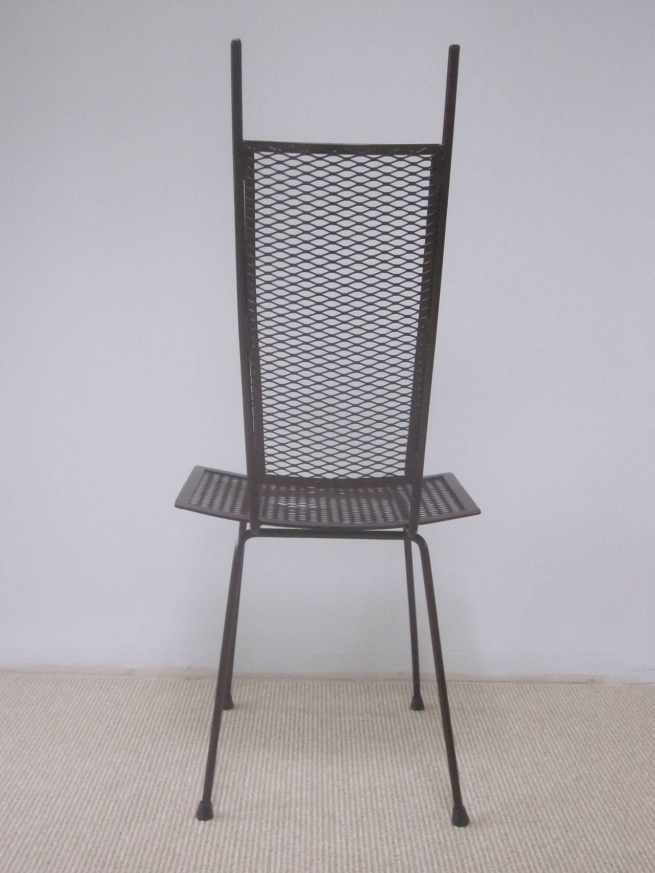 Mid-Century Modern Craftsman Transparent Iron Desk / Side Chair For Sale 1