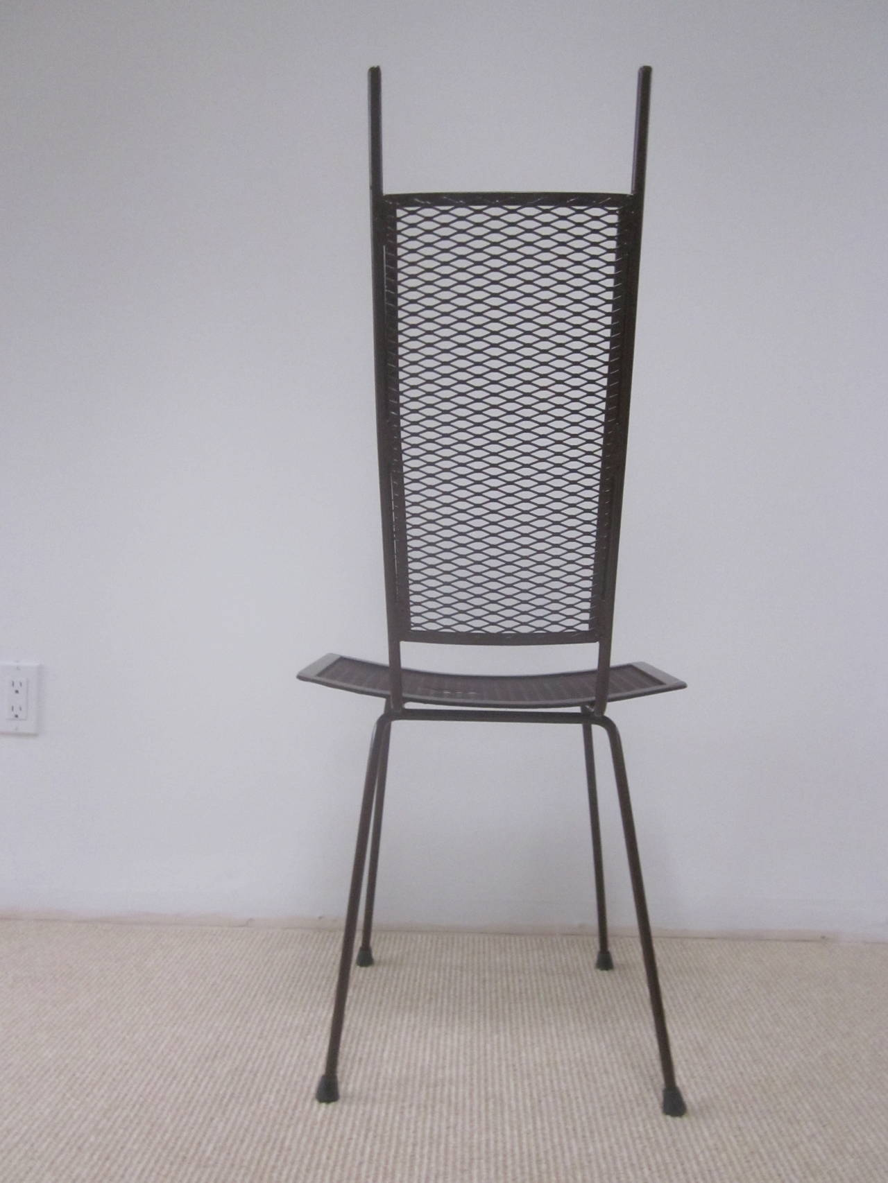 20th Century Mid-Century Modern Craftsman Transparent Iron Desk / Side Chair For Sale