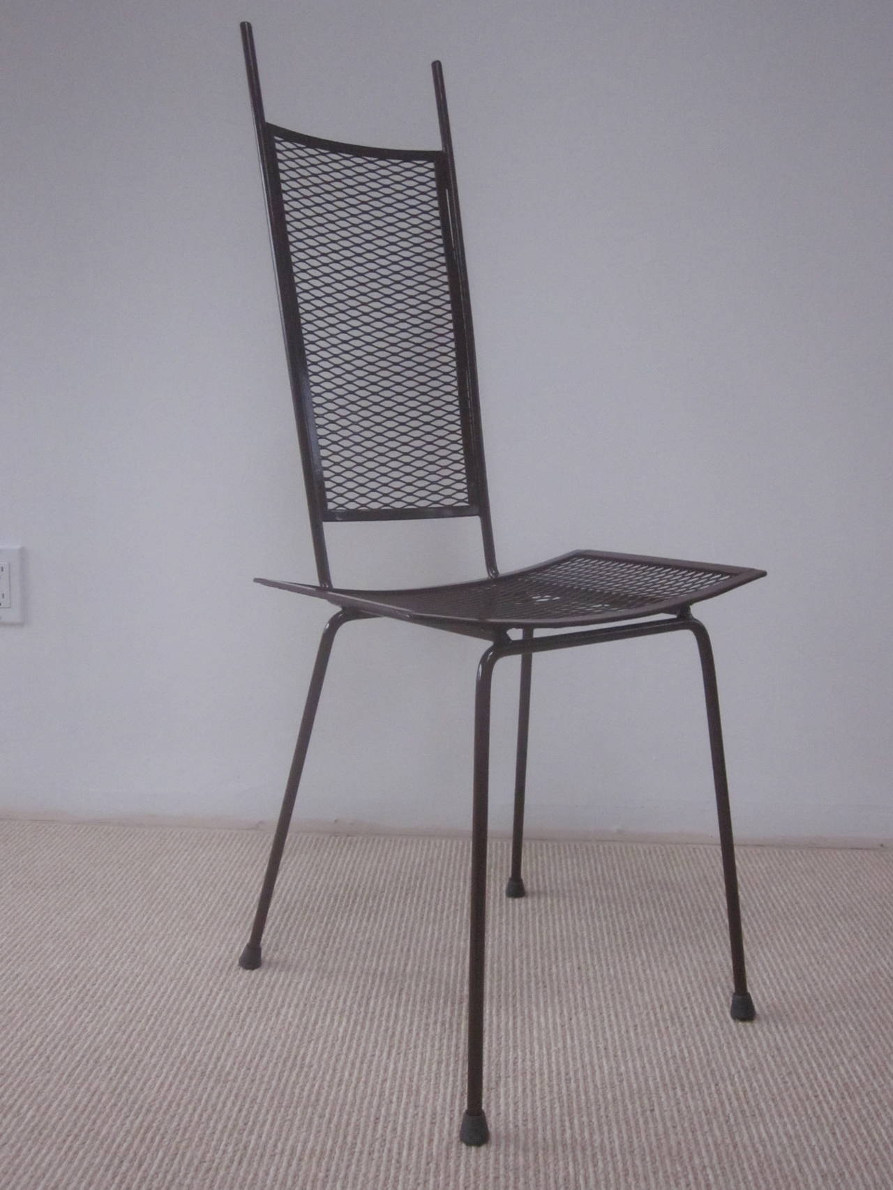 Mid-Century Modern Craftsman Transparent Iron Desk / Side Chair In Good Condition For Sale In New York, NY