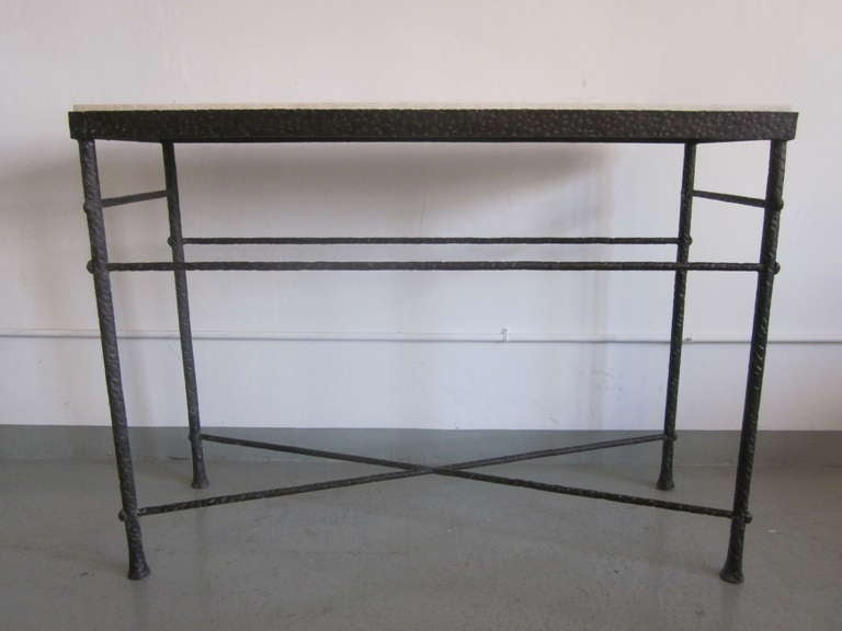 French Mid-Century Modern Style Hand-Hammered Iron Console, Manner of Giacometti In Good Condition For Sale In New York, NY