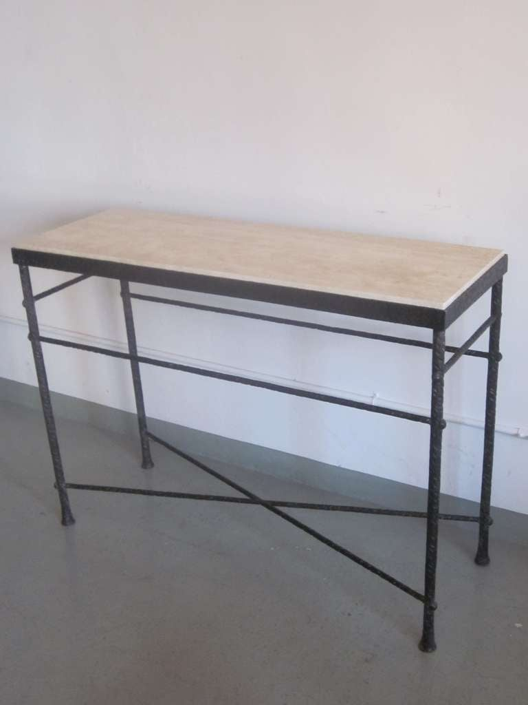 20th Century French Mid-Century Modern Style Hand-Hammered Iron Console, Manner of Giacometti For Sale