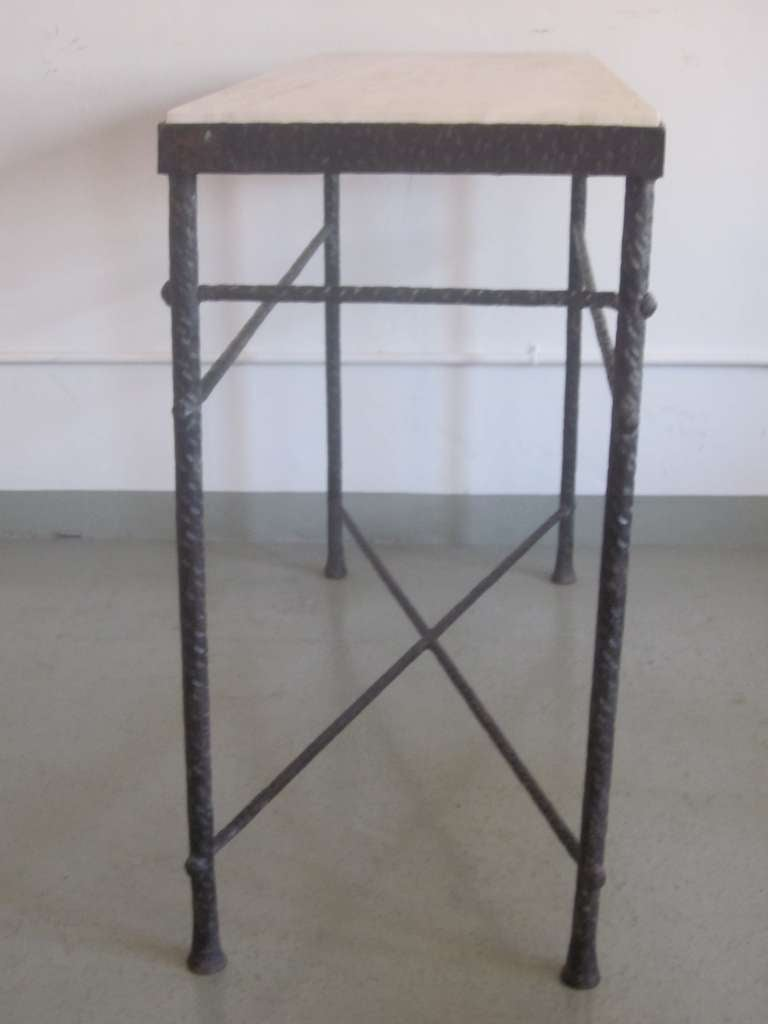 French Mid-Century Modern Style Hand-Hammered Iron Console, Manner of Giacometti For Sale 1