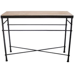 French Mid-Century Modern Style Hand-Hammered Iron Console, Manner of Giacometti